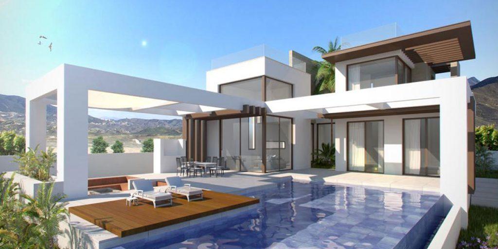 3 camere da letto, Due proposte di design per il progetto, costruito 235 m2. Terreno 500 m2, Case per l'energia sostenibile.
