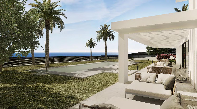 壮丽的家与全景海景。